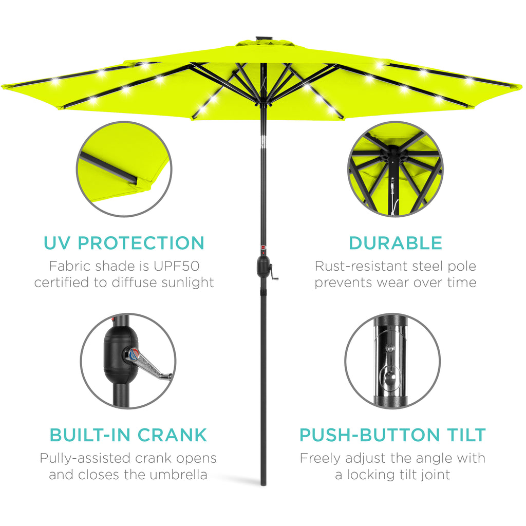 BCP 10FT Deluxe Patio Umbrella W/ Solar LED Lights, Tilt Adjustment - Multicolor