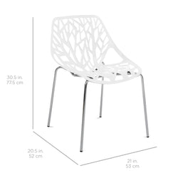 Best Choice Products Set of 2 Mid-Century Modern Eames Style Stenciled Dining Side Chairs w/ Chrome-Plated Legs
