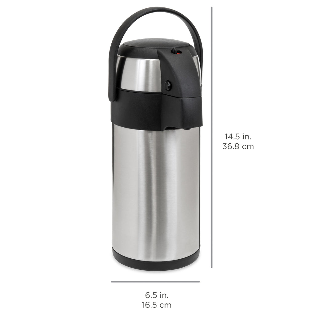 3L Thermal Airpot Coffee Beverage Dispenser Carafe Stainless Steel w/ Lid, Dispenser - Silver