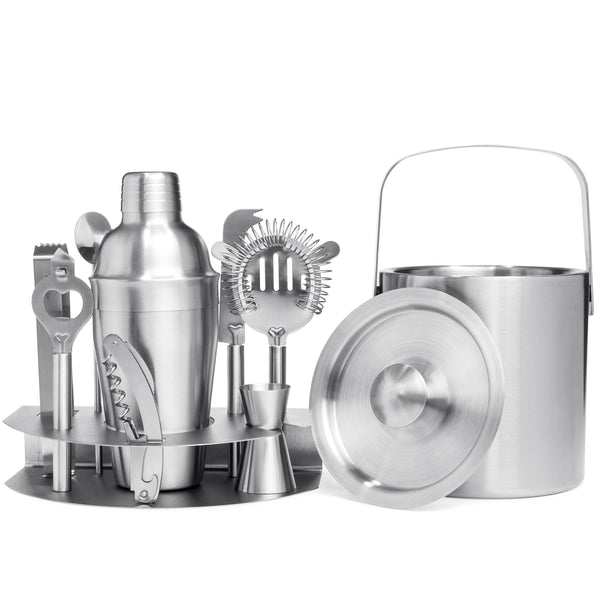 10-Piece Stainless Steel Bartender Mixology Set - Silver