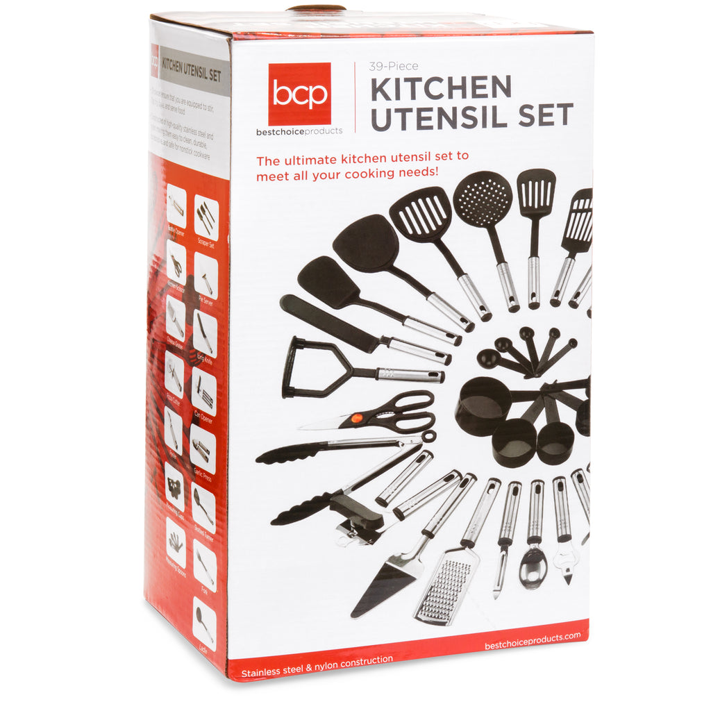 39-Piece Stainless Steel and Nylon Cooking Utensil Set - Black/Silver