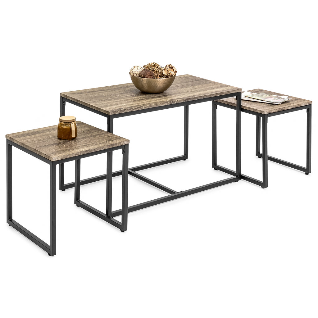 3 Piece Nesting Coffee And End Table Set Best Choice Products
