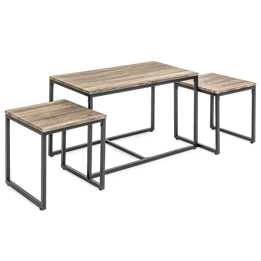 best choice products 3 piece nesting coffee and end table set