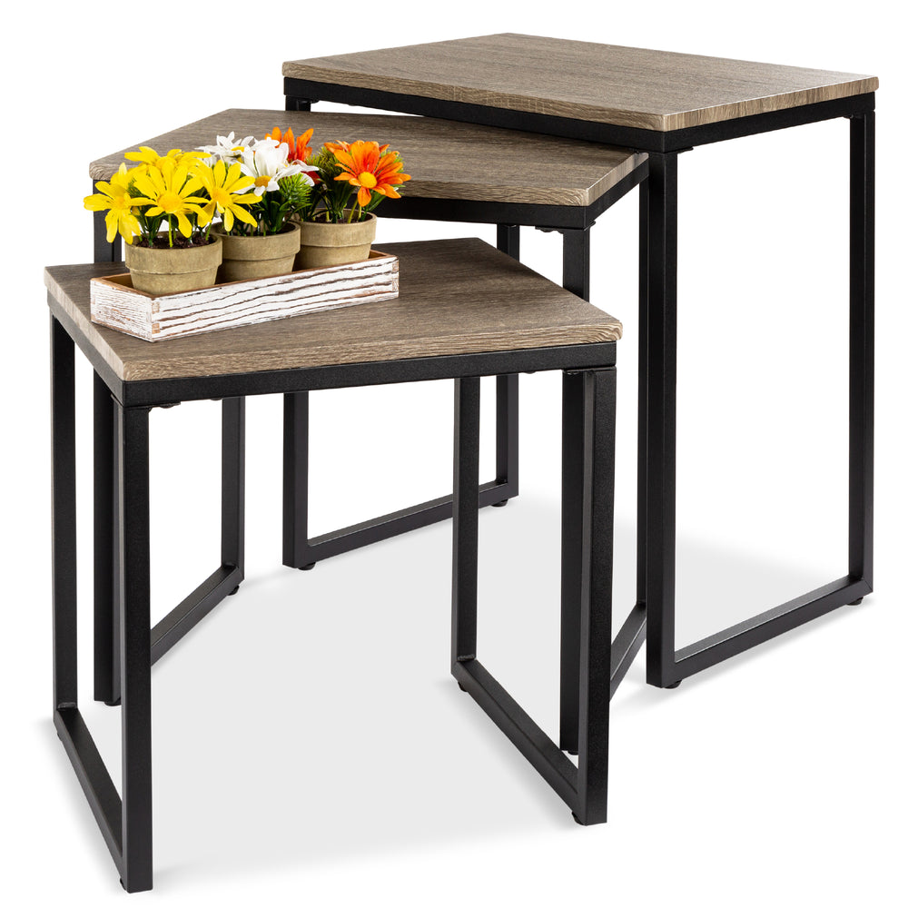 3 Piece Nesting Coffee End Table Set   Brown