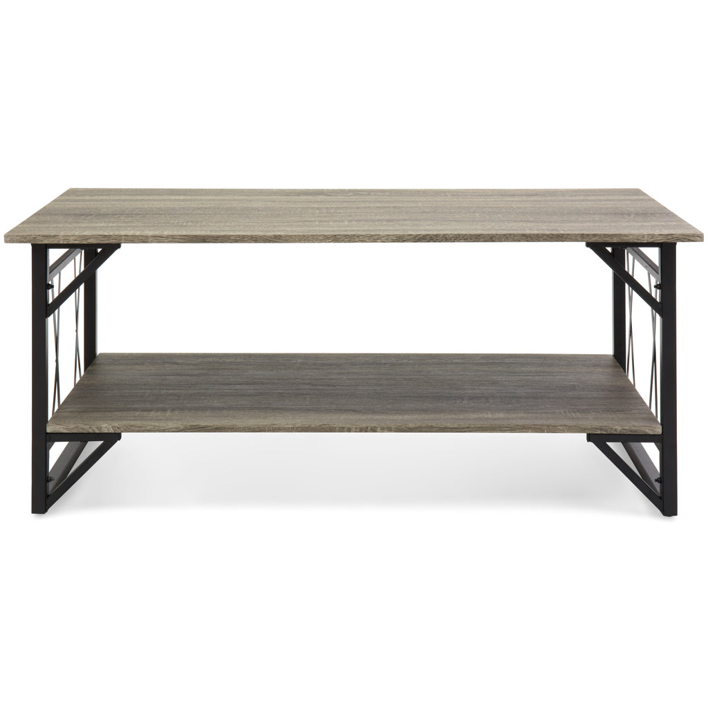 Modern Contemporary Style Wooden Coffee Table w/ Metal Legs - Gray
