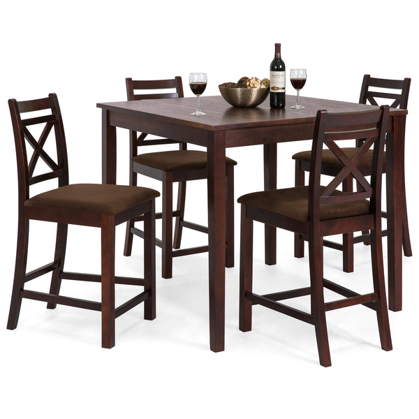 5-Piece Square Dining Table Set w/ 4 Chairs - Espresso