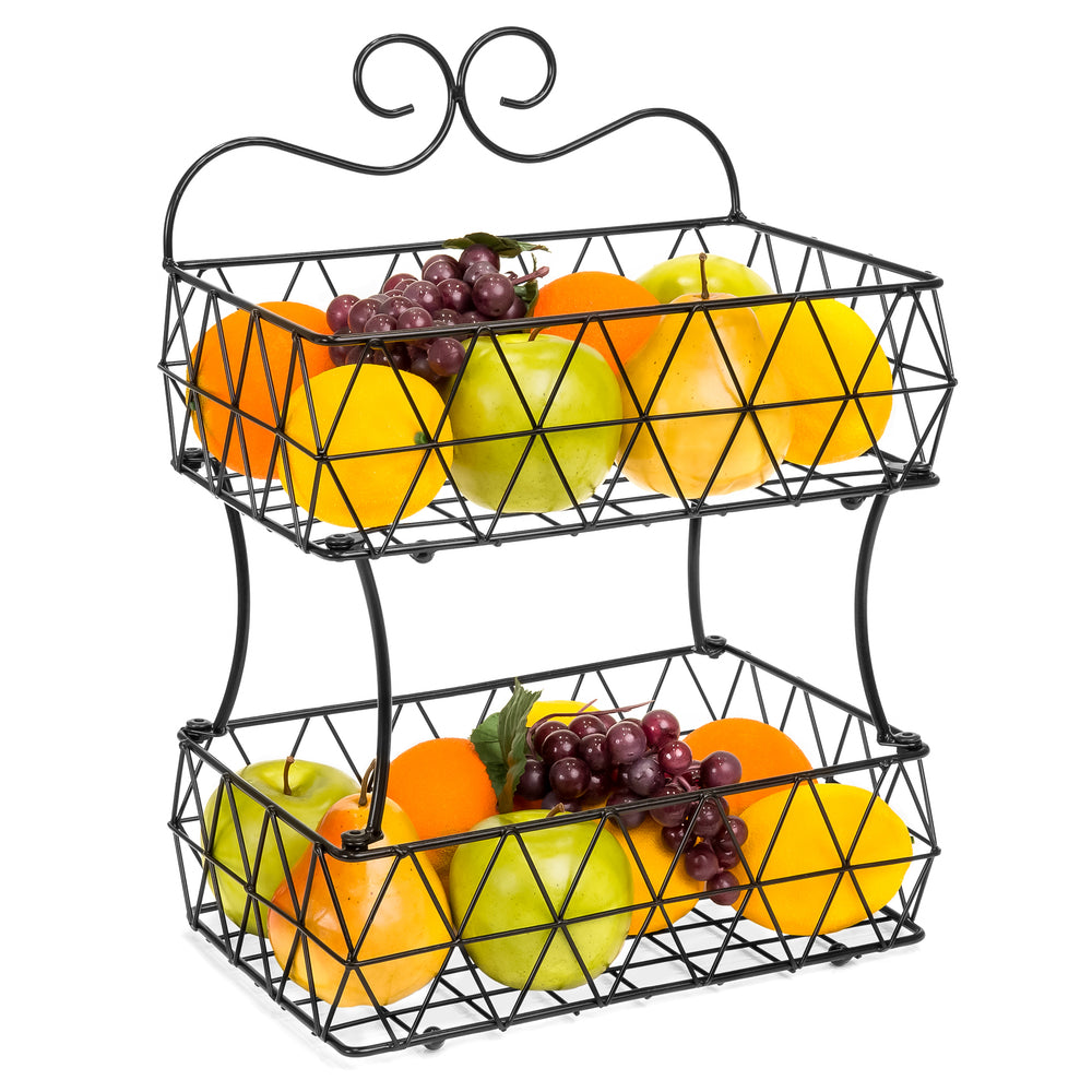 Charmant 2 Tier Removable Metal Fruit Basket Stand Wire Bread Fruit Storage Rack    Black