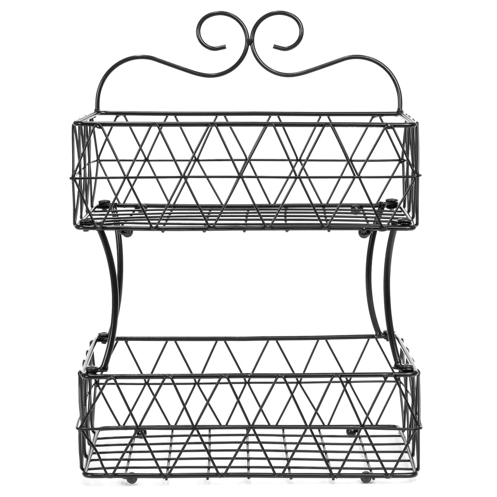 2-Tier Removable Metal Fruit Basket Stand Wire Bread Fruit Storage ...