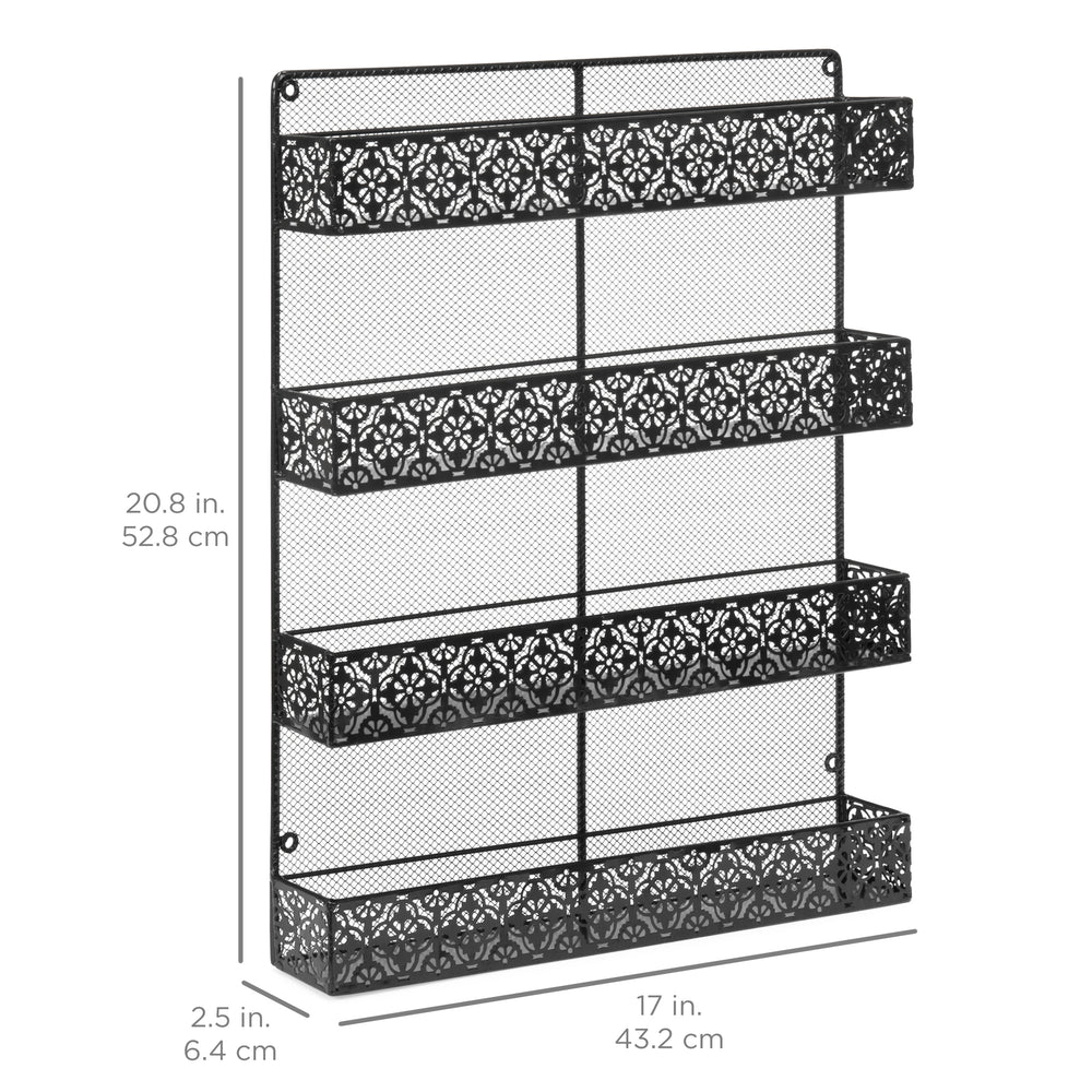 4 Tier Large Wall Mounted Wire Spice Rack Organizer - Black – Best ...
