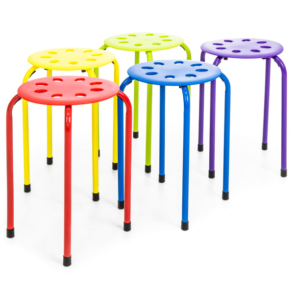 Set of 5 Backless Plastic Stools - Multicolor