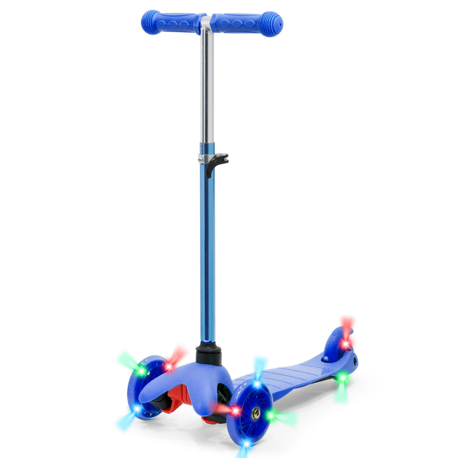 Kids Mini Kick Scooter Toy with Colorful Light-Up Wheels, Adjustable T-Bar