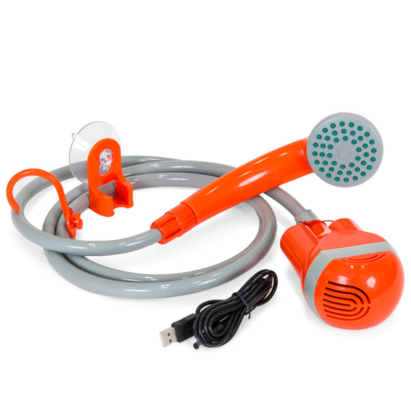 Portable Battery-Powered Showerhead w/ Suction Cup Hook - Orange