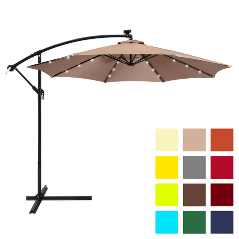 5599ca15c4d2f 10ft Solar LED Patio Offset Umbrella w/ Hand Crank, Easy Tilt