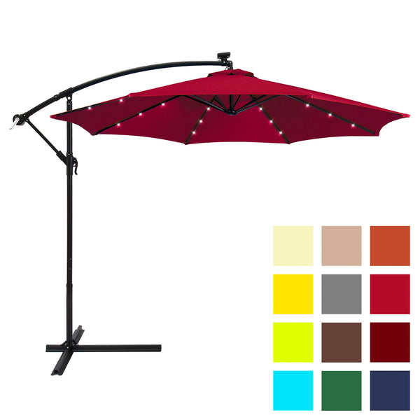 10' Solar Patio Offset Umbrella - Burgundy