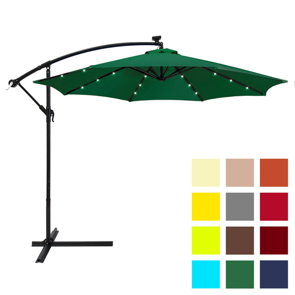 10' Solar Patio Offset Umbrella - Green