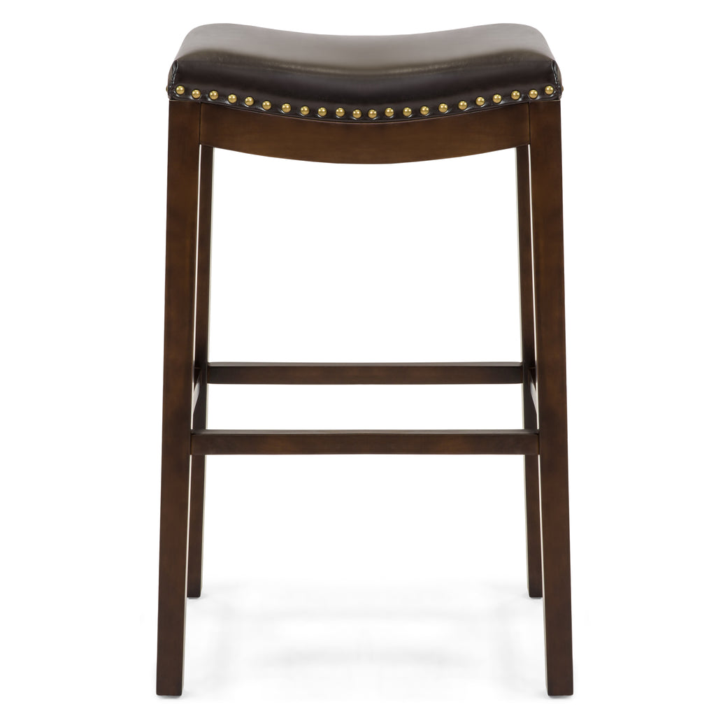 Set of 2 31in Backless Bar Stool Accent Chairs w/ Faux Leather, Brass Studs