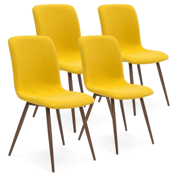 Set of 4 Mid Century Modern Dining Chairs - Yellow
