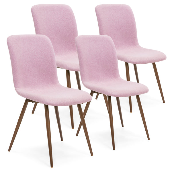 Set of 4 Mid Century Modern Dining Chairs - Pink