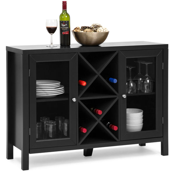 Wooden Wine Rack Sideboard Table w/ Storage - Black