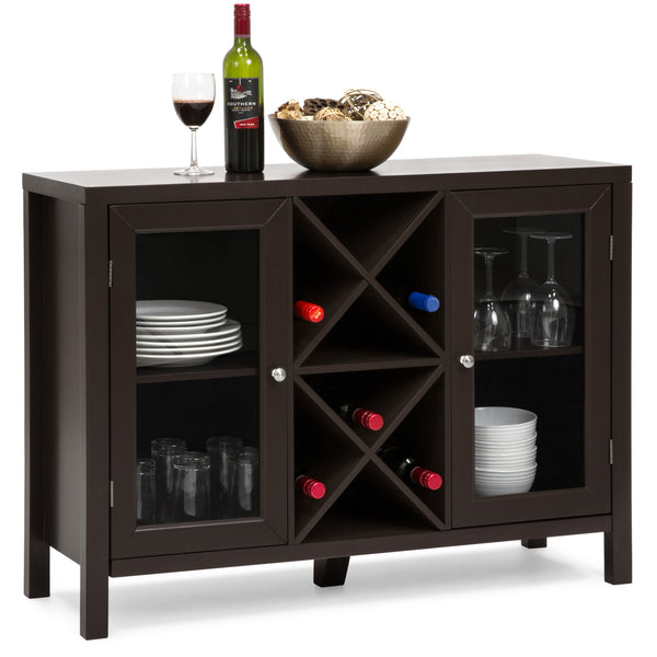Wooden Wine Rack Sideboard Table w/ Storage - Espresso