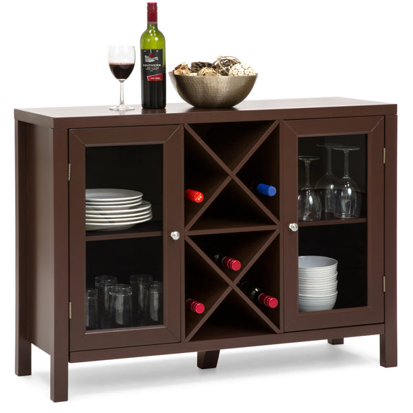 Wooden Wine Rack Sideboard Table w/ Storage - Cherry