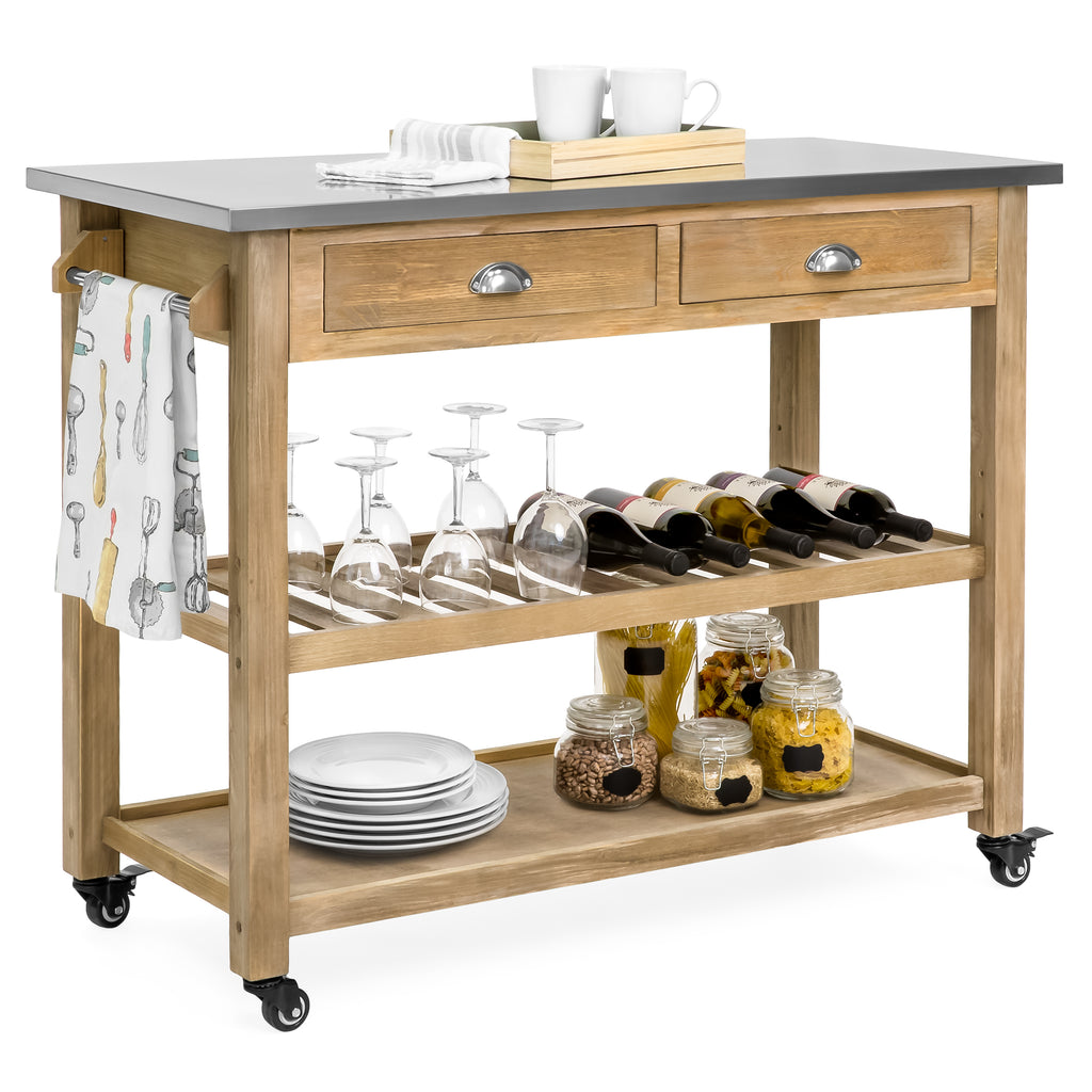 Kitchen Island Storage & Bar Cart w/ Stainless Steel Top - Rustic Wood