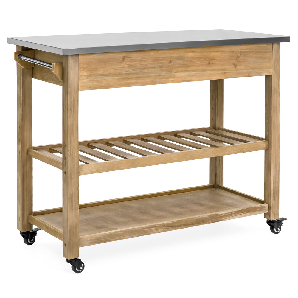 Kitchen Island Storage & Bar Cart w/ Stainless Steel Top - Rustic ...