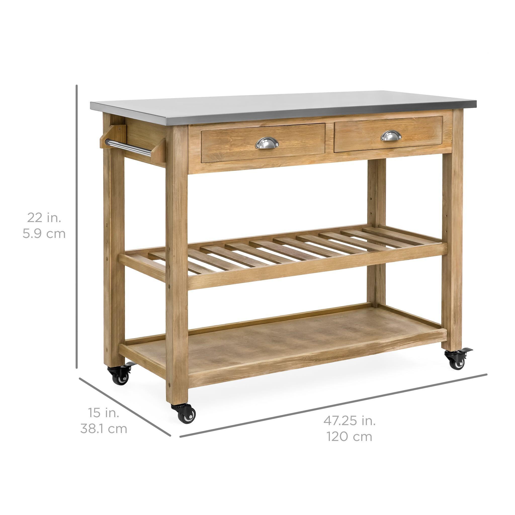 Kitchen Island Storage & Bar Cart w Stainless Steel Top Rustic