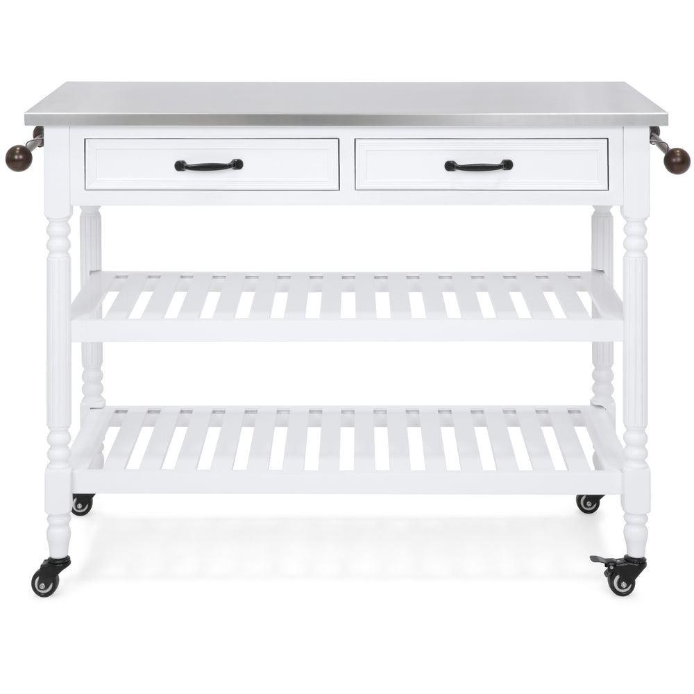 Kitchen Island Storage & Bar Cart w/ Stainless Steel Top - White ...