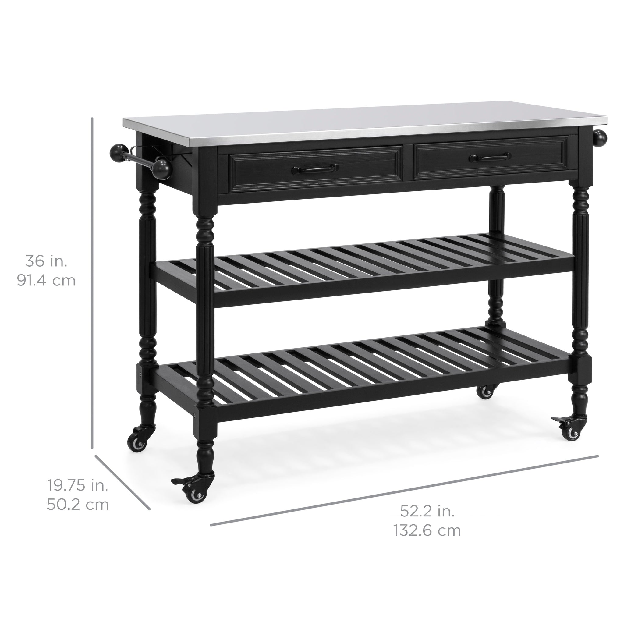 Kitchen Island Storage & Bar Cart w Stainless Steel Top Black