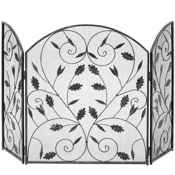 Metal Mesh Fireplace Screen w/ Leaf Decals