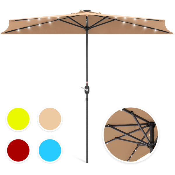 Best Choice Products 9ft Solar LED Half Patio Umbrella w/ Crank