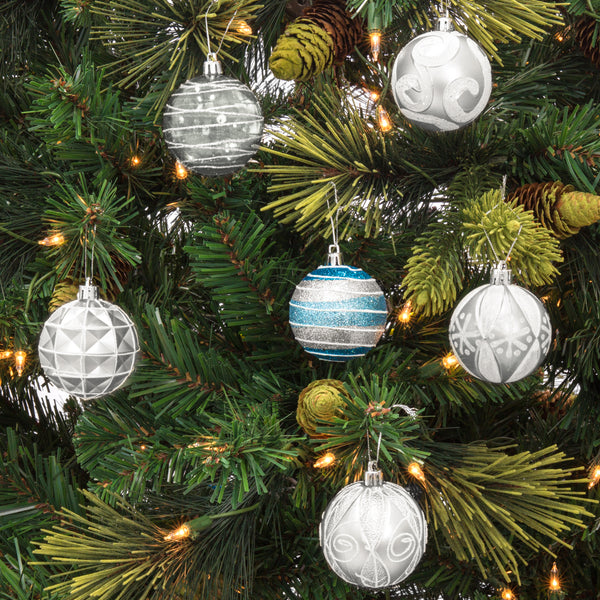 "2.36""/60mm Set of 24 Handcrafted Christmas Ball Ornaments - Silver"