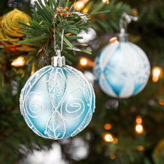 "2.36""/60mm Set of 24 Handcrafted Christmas Ball Ornaments - Blue"