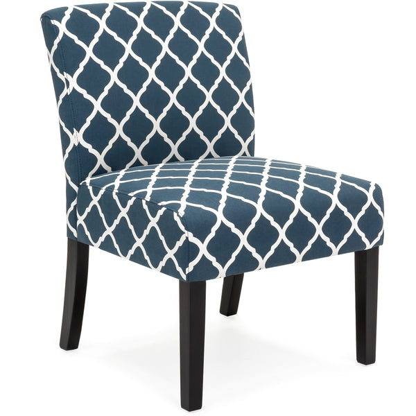 Upholstered Accent Chair w/ Diamond Patterns - Blue