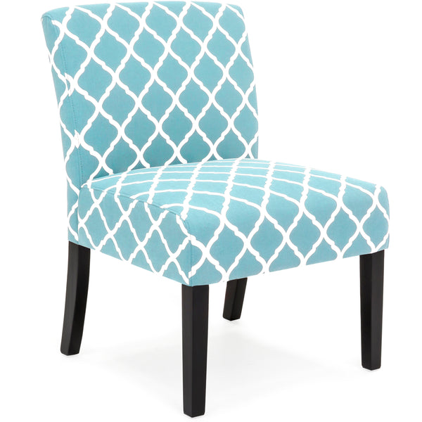 Upholstered Accent Chair w/ Diamond Patterns - Turquoise