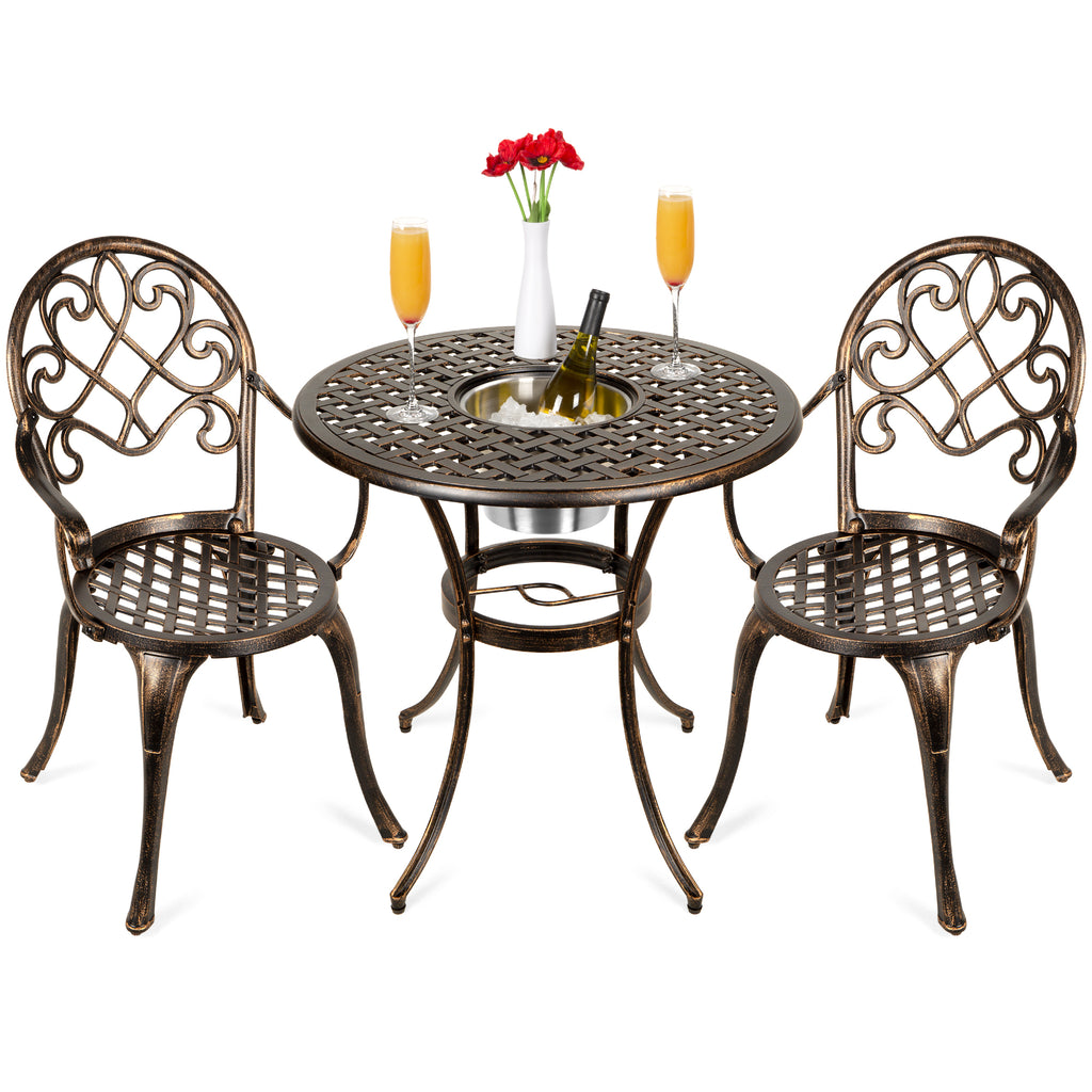 Cast Aluminum Patio Bistro Set w/ Ice Bucket, Chairs, Copper Finish
