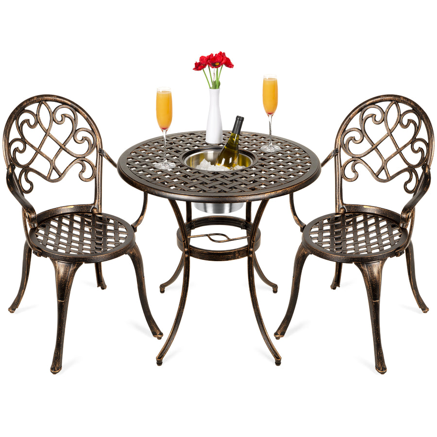 Cast Aluminum Patio Bistro Set W/ Ice Bucket, Chairs   Copper
