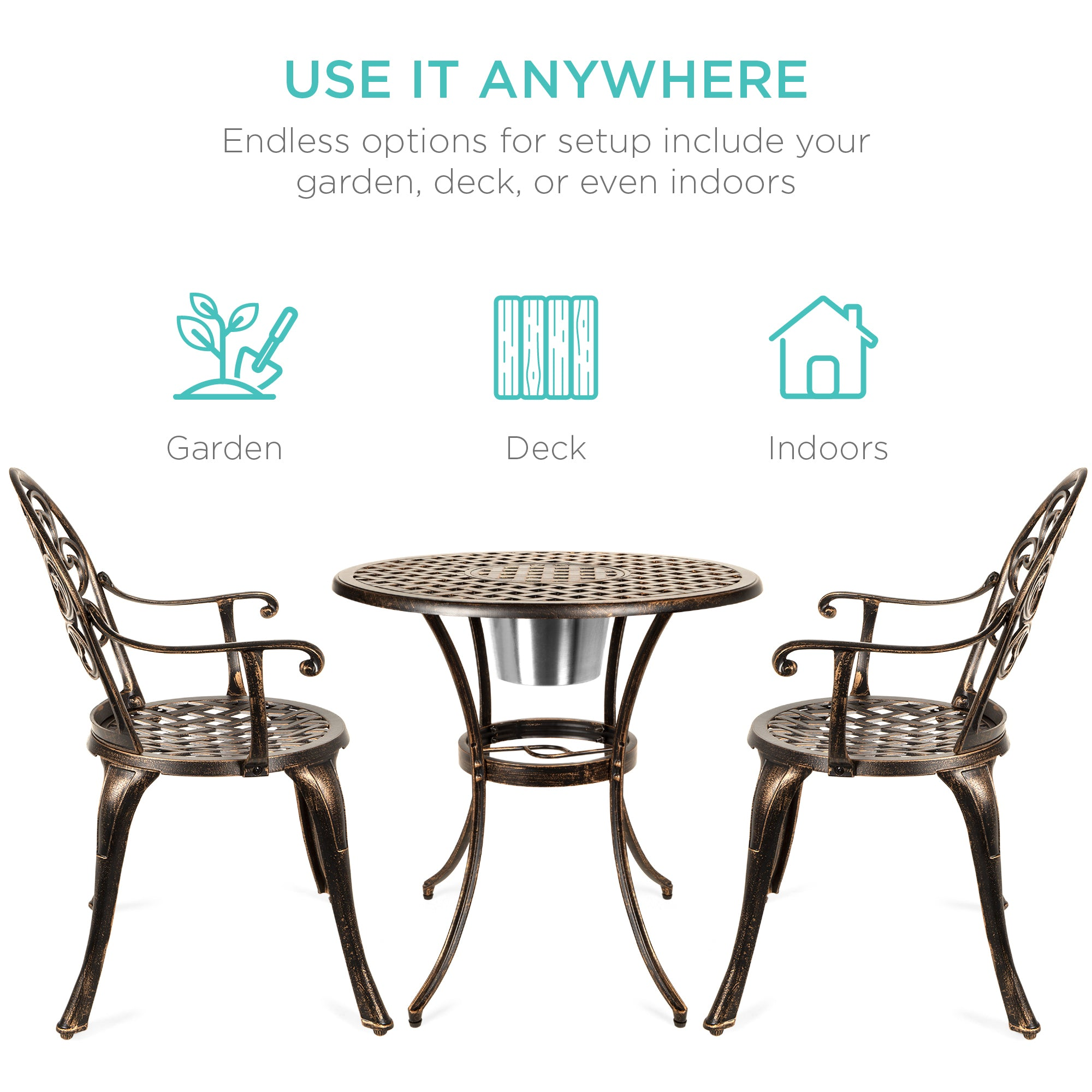 Cast Aluminum Patio Bistro Set w/ Ice Bucket, Chairs - Copper ...