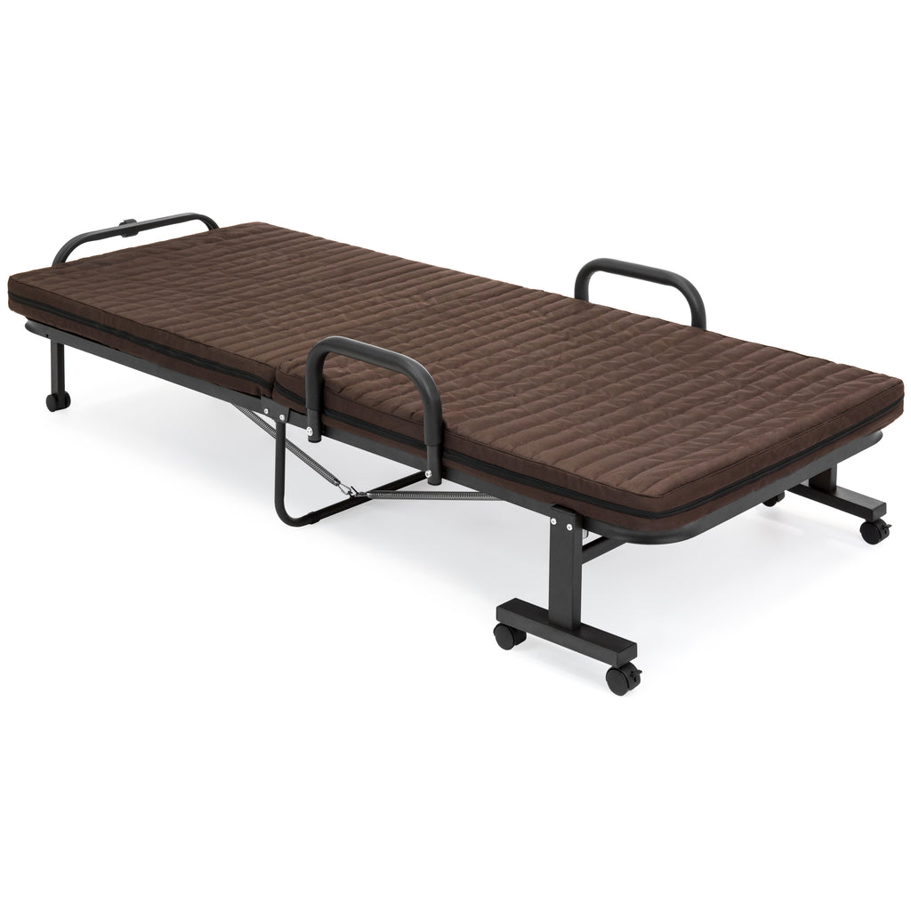 "Twin Mattress Vs Single: 74"" Folding Twin Mattress W/ Portable Wheels Single Bed"