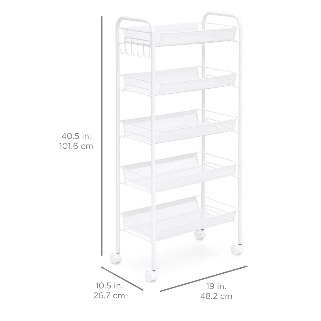 5-Tier Metal Rolling Kitchen Utility Storage Cart w/ Locking Casters