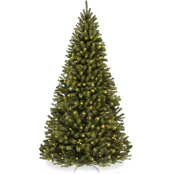 9ft Pre-Lit Spruce Hinged Artificial Christmas Tree w/ 900 Lights, Stand