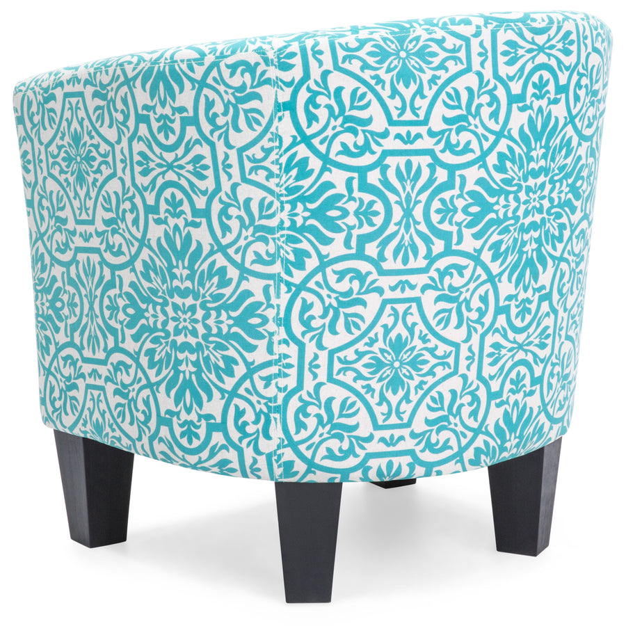 Upholstered Barrel Accent Chair Decor Furniture W/ Ottoman