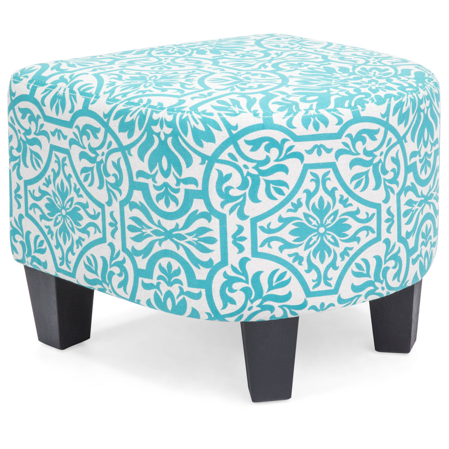 Upholstered Barrel Accent Chair w/ Ottoman - Blue Floral Print