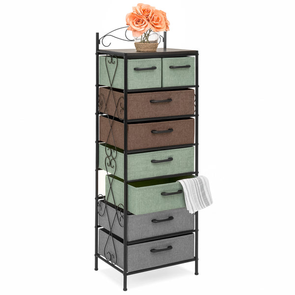 8-Drawer Metal Tower Storage Cabinet - Multicolor