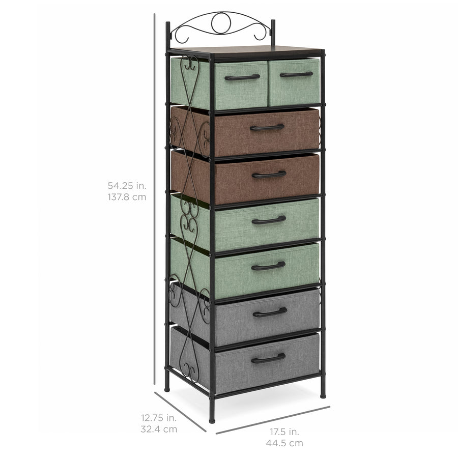 8 Drawer Metal Tower Storage Cabinet   Multicolor