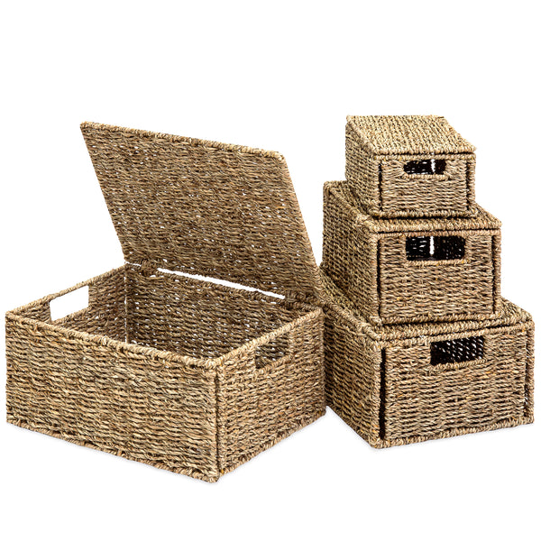 Set of 4 Seagrass Storage Baskets w/ Lids - Natural
