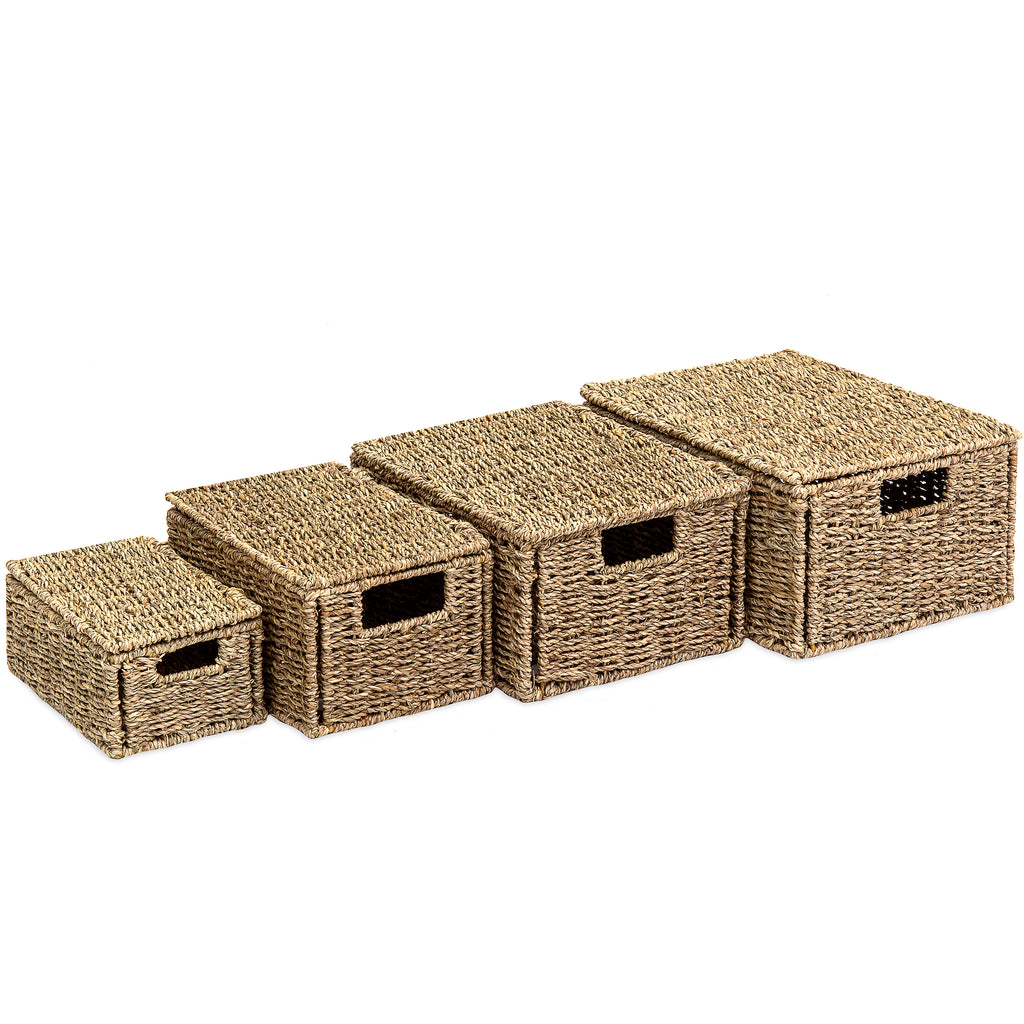 Set of 4 Seagrass Storage Baskets w/ Lids