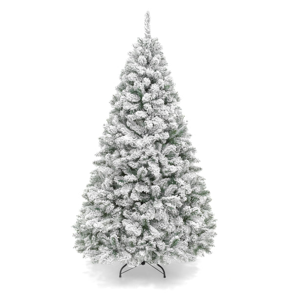 6FT Premium Artificial Christmas Pine Tree w/ Solid Metal Legs, Frosted Leaves