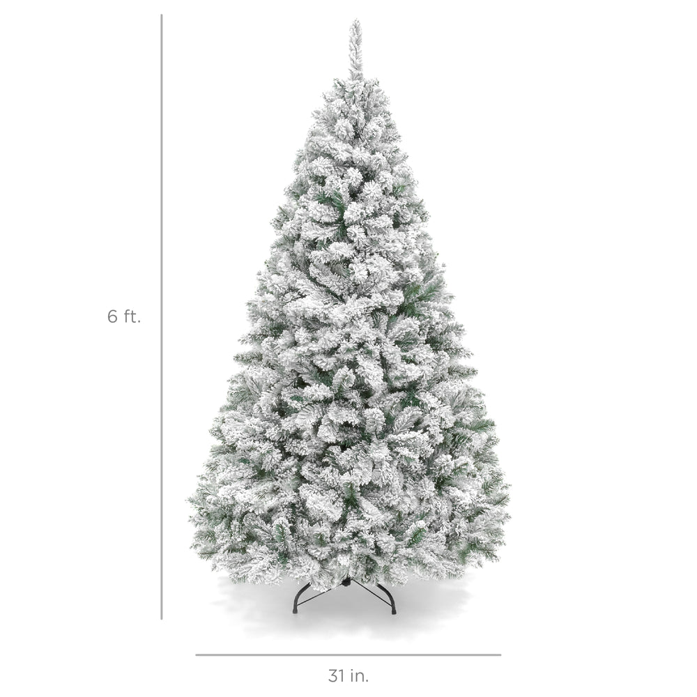 Snow Flocked Hinged Artificial Pine Christmas Tree w/ Metal Stand